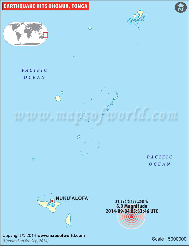 M6.0 Earthquake in Ohonua, Tonga
