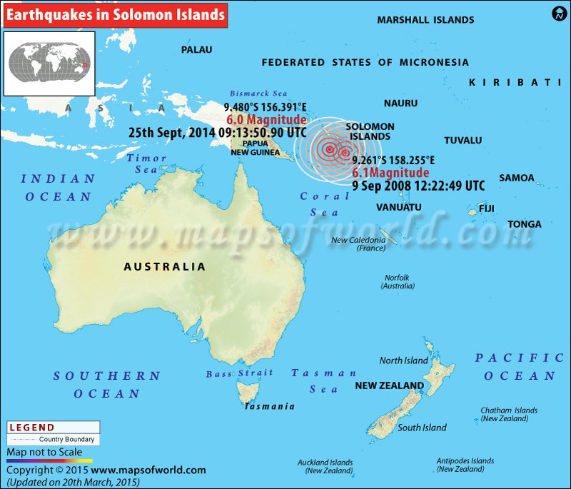 Solomon Islands World Map.Earthquakes In Santa Cruz Islands Solomon Islands Areas Affected
