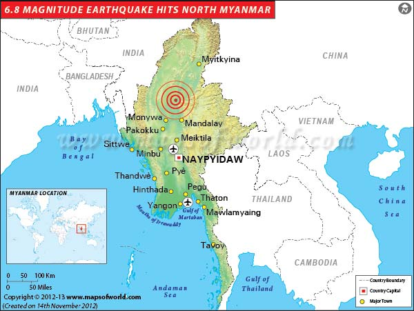 6.8 Magnitude Earthquake Hits North Myanmar