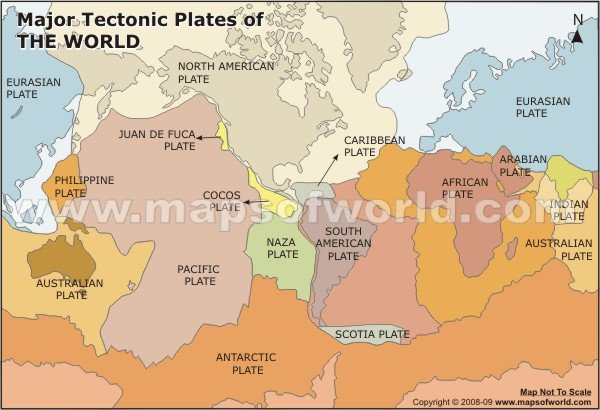 Major Tectonic Plates of the World