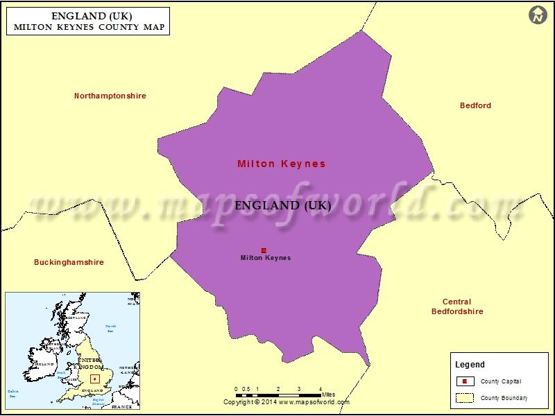 Map Of England Milton.Map Of Milton Keynes County England Uk