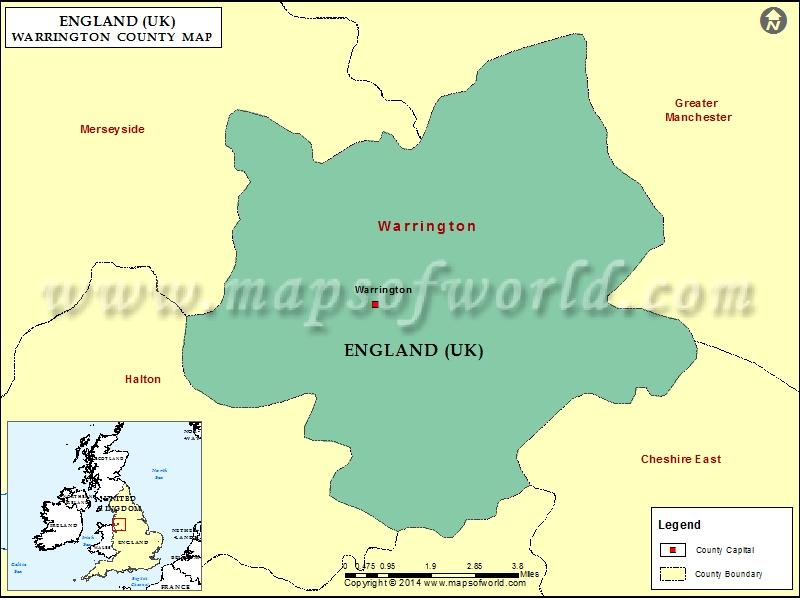 Warrington County Map, Map of Warrington County, England
