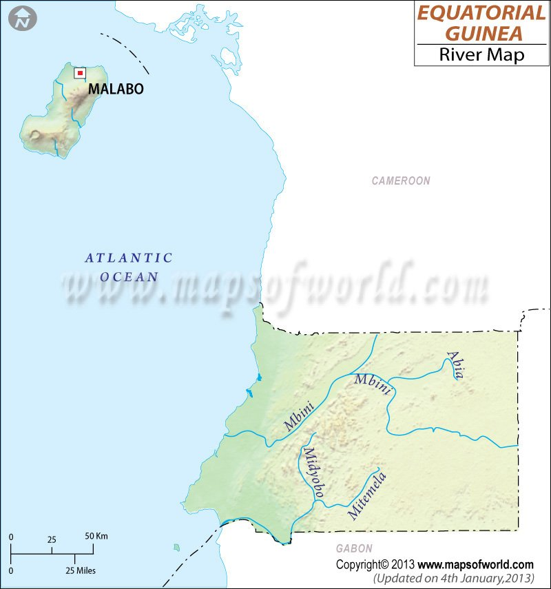 Equatorial Guinea River Map