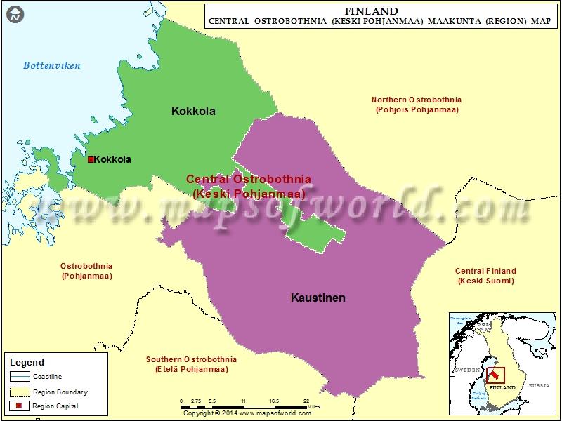 Central Ostrobothnia Map (Keski-Pohjanmaa), Finland