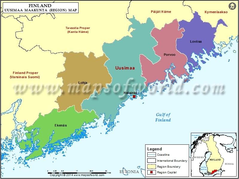 Uusimaa Map, Finland