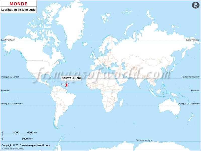 Où est Sainte Lucie | Localisation de Sainte Lucie sur la carte