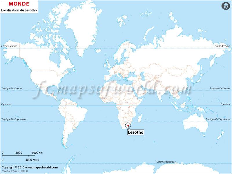 Localisation du Lesotho sur la carte du monde