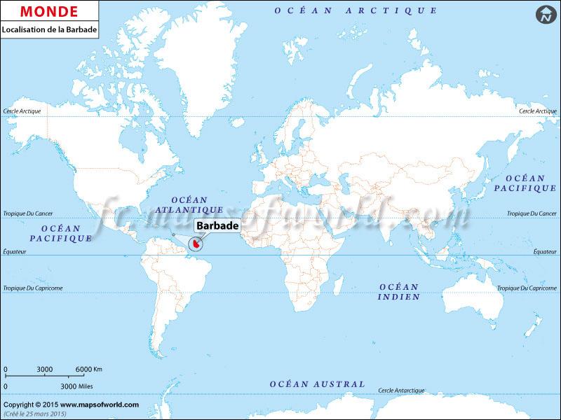 Localisation de la Barbade sur la carte du monde