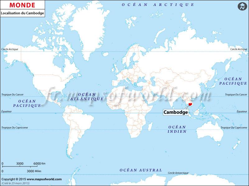 Où est le Cambodge | Localisation du Cambodge sur la carte mondiale