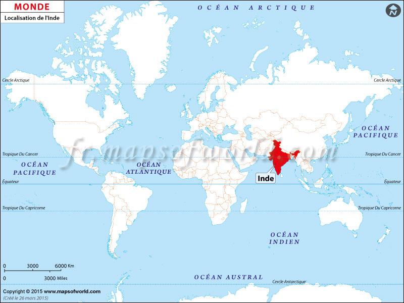carte du monde inde