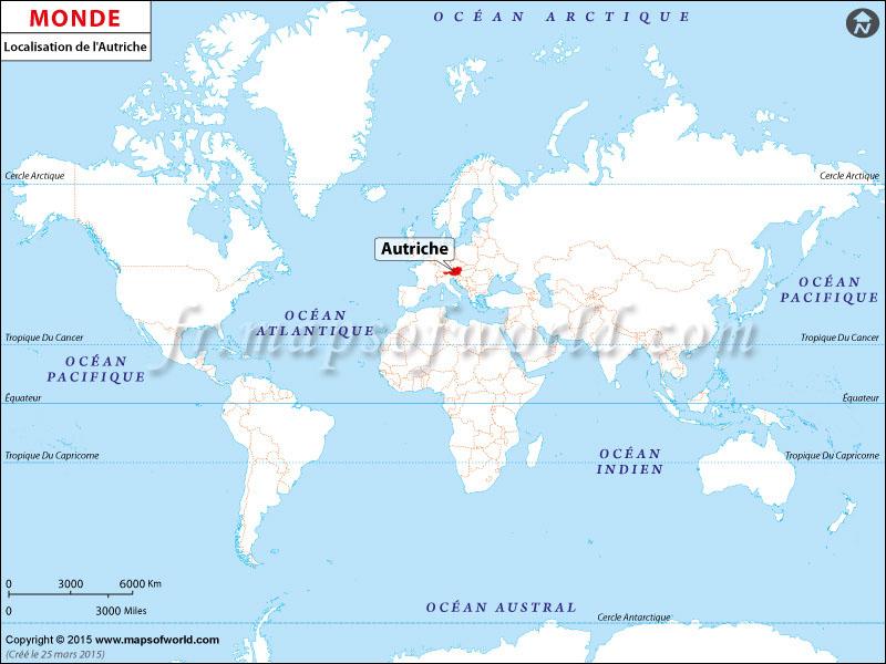 autriche carte du monde-