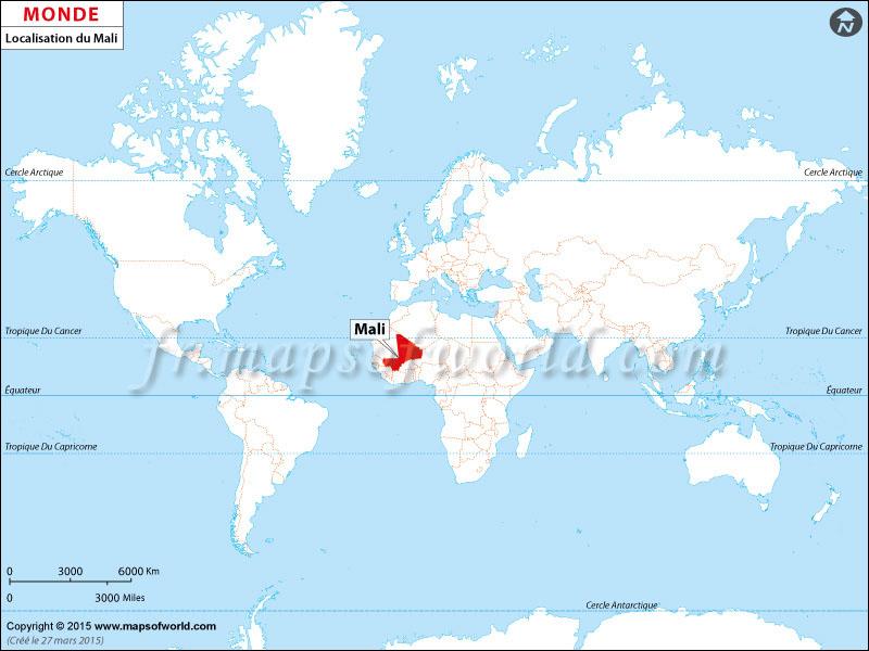 Localisation du Mali sur la carte du monde