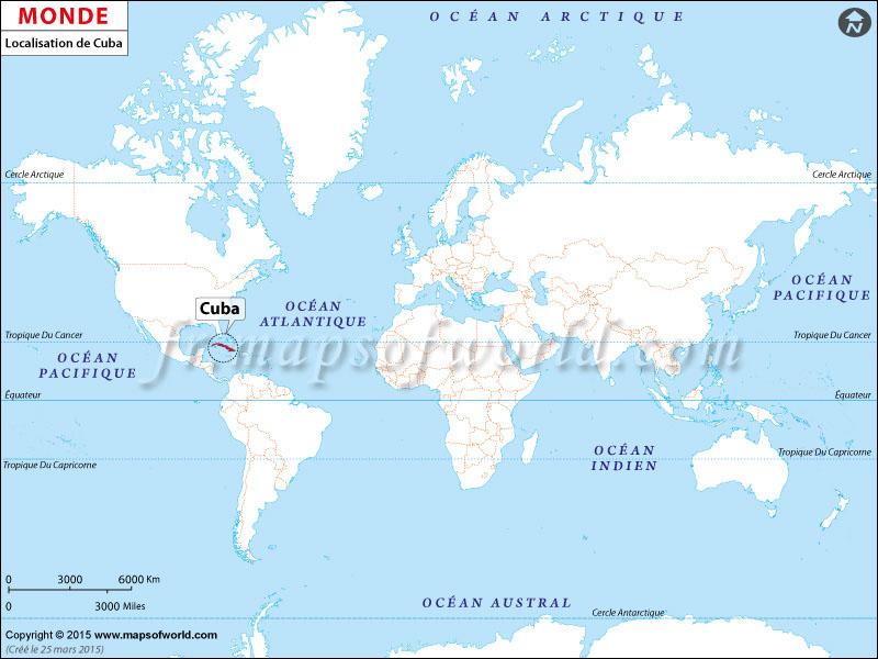 Où est Cuba | Localisation de Cuba sur la carte du monde