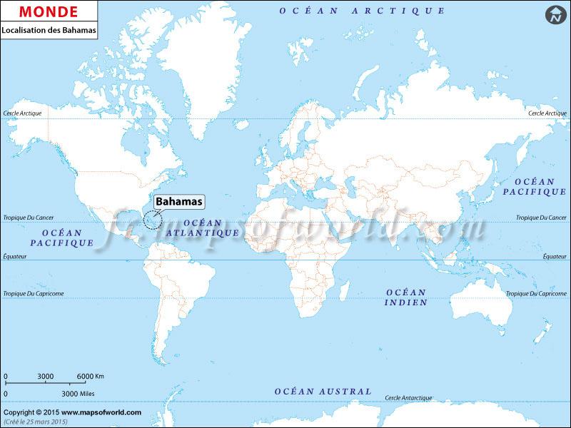 Localisation des Bahamas sur la carte du monde