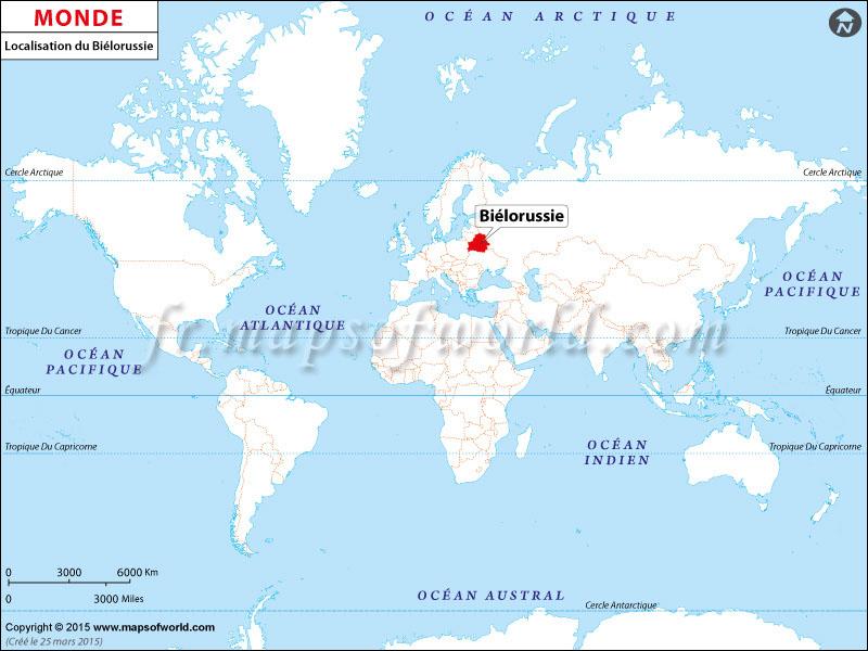 Localisation du Biélorussie sur la carte du monde