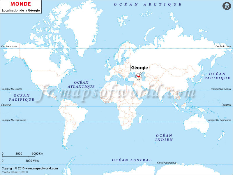 Où est la Géorgie | Localisation de la Géorgie sur la carte mondiale