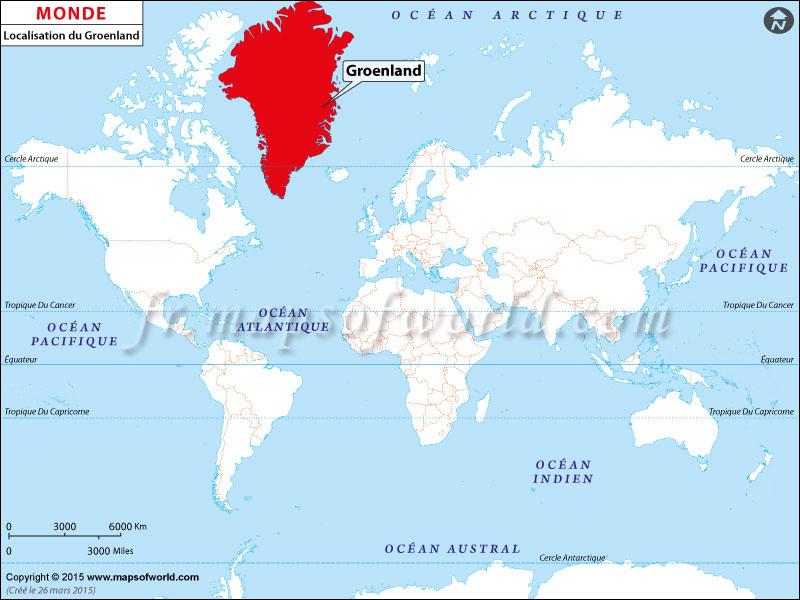 Où est du Groenland | Localisation du Groenland sur la carte mondiale