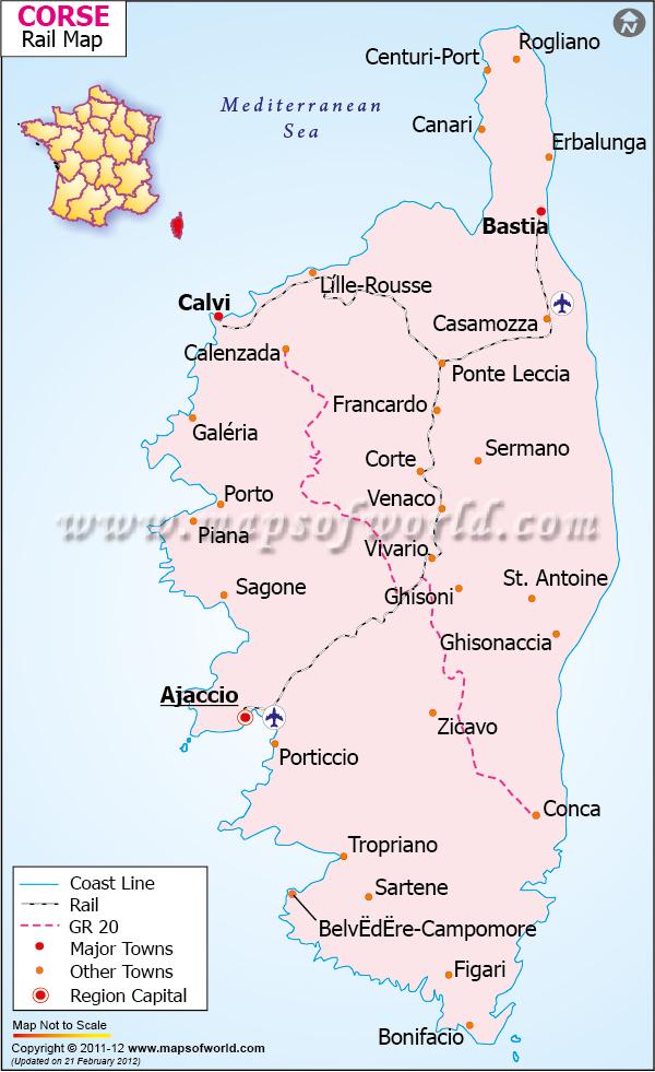 Corse Railway Map