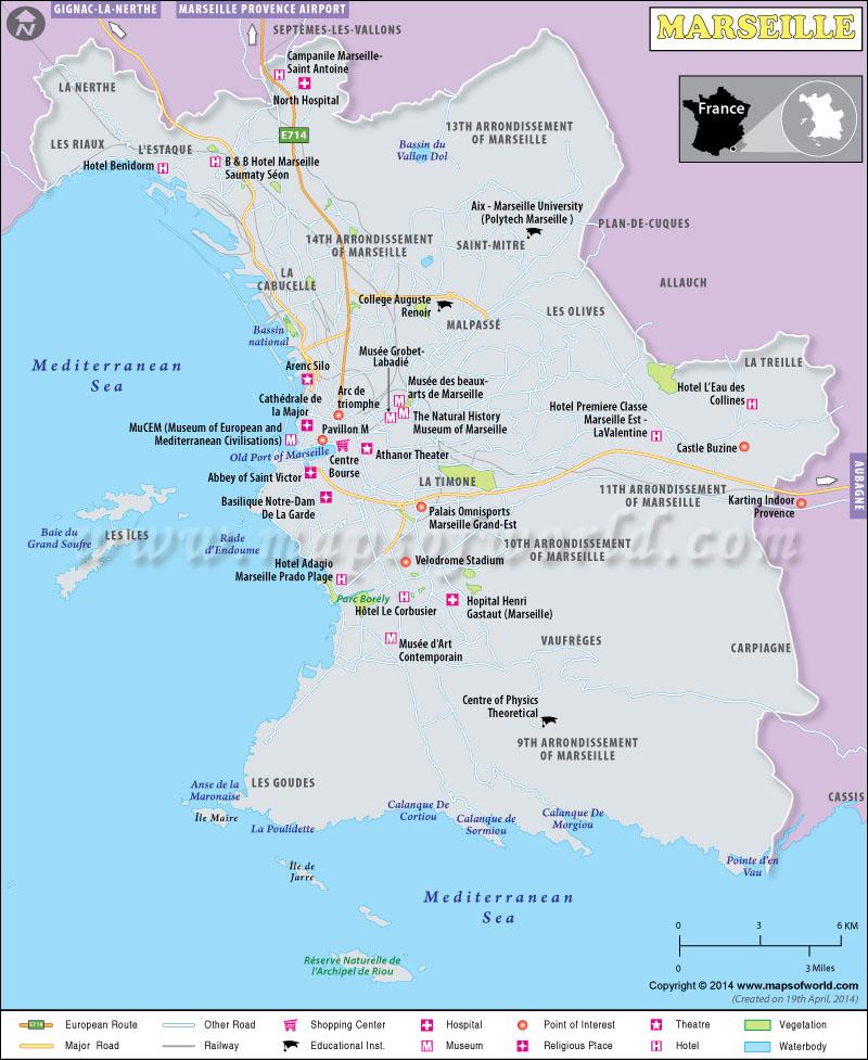 marseille map map of marseille city france. Black Bedroom Furniture Sets. Home Design Ideas