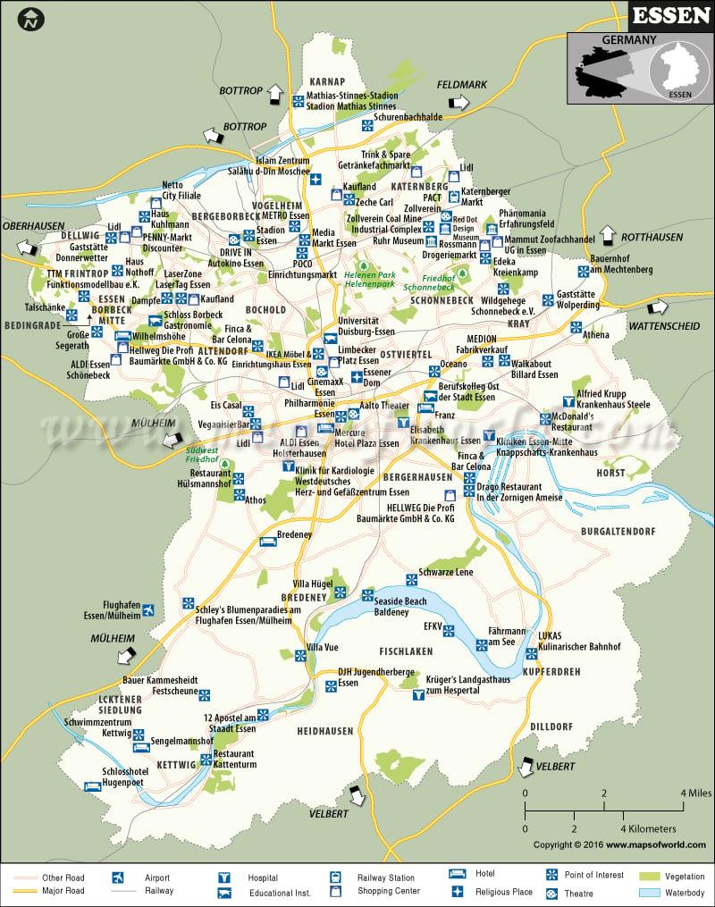 Essen Map City Map of Essen Germany