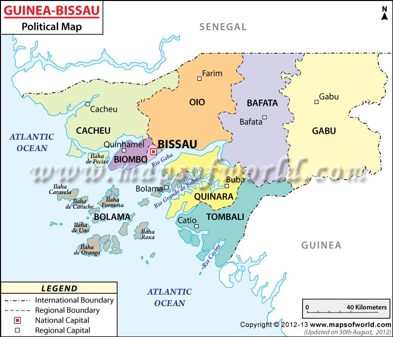 Mapa político de Guinea Bissau