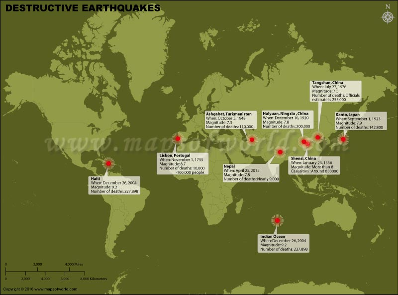 World Map showing Most Destructive Earthquakes