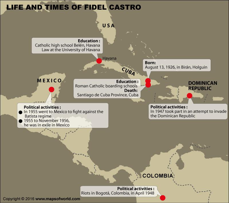 Fidel Castro Life Map