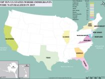 Top Ten US States where Immigrants Were Naturalized in 2015