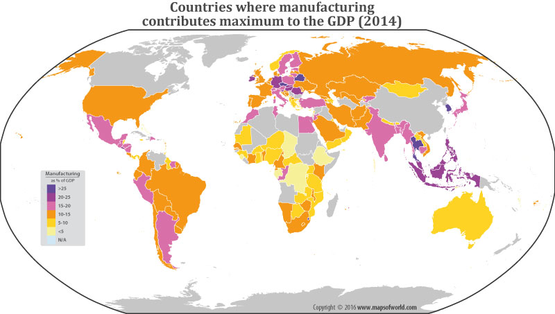 Countries Where Manufacturing Contributes Maximum To the GDP