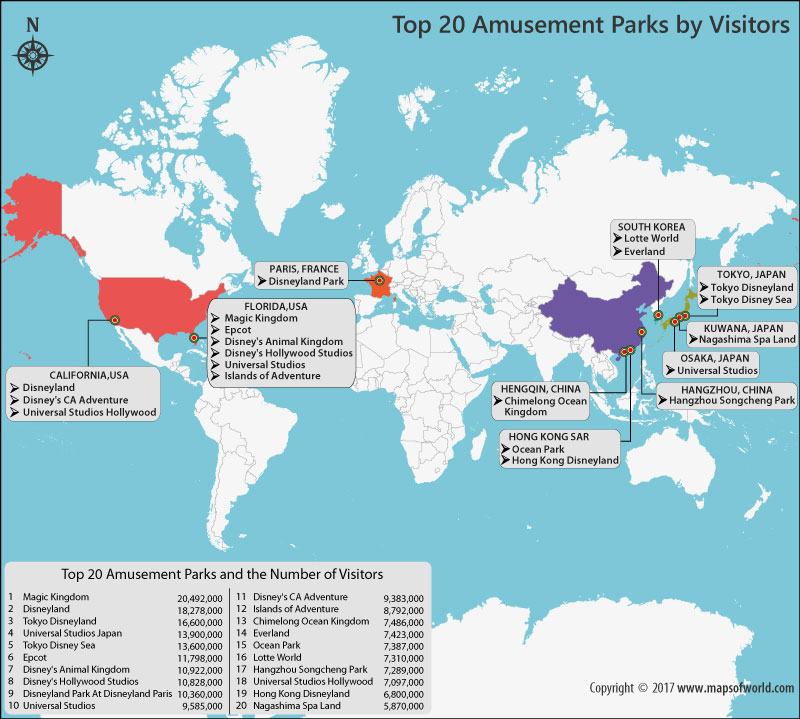 World Map showing 20 Most Popular Amusement Parks By Attendance