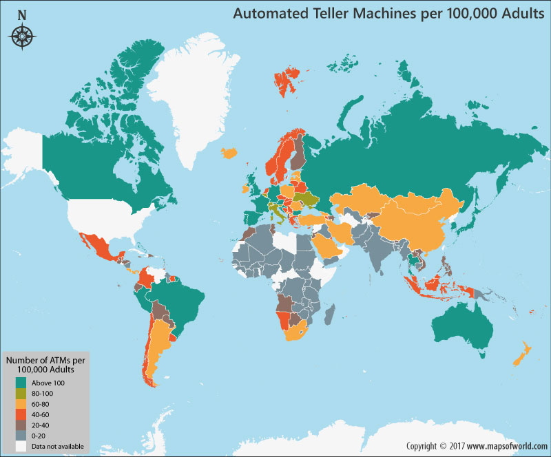 Automated Teller Machines On The World Map