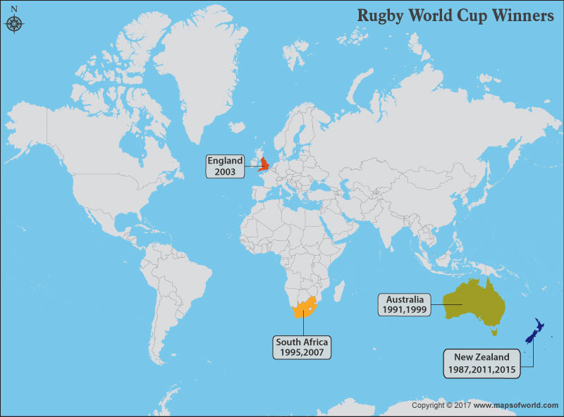 New Zealand Map On World.Nations That Won The Rugby World Cup World Map