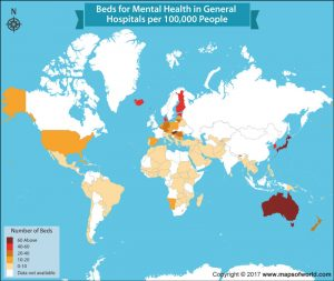 Have a Look at the Number of Beds for Mental Health in General Hospitals per Country
