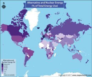 Have a Loook at the Percentage of Alternative and Nuclear Energy used by countries