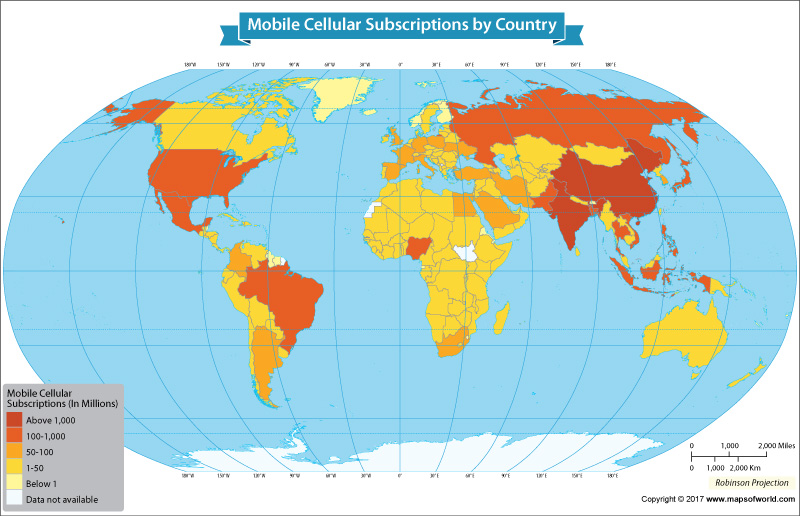 Mobile cellular subscriptions by country on the world map gumiabroncs