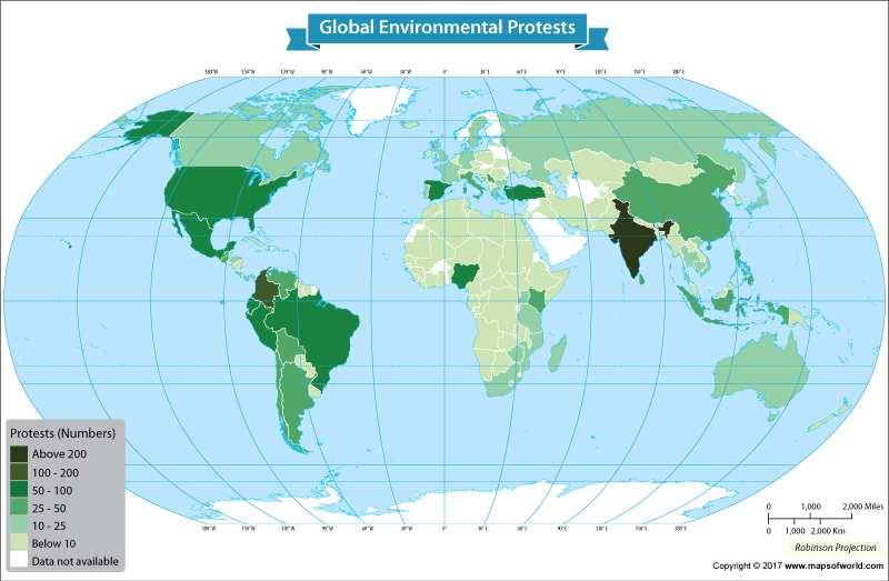 Get to Know How Many Environmental Protests Were Organized in Each Nation