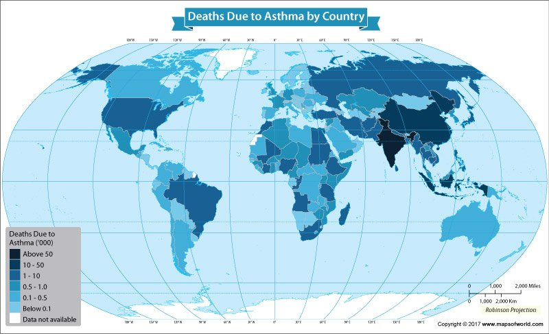 Get to Know The Number of Deaths From Asthma Per Country