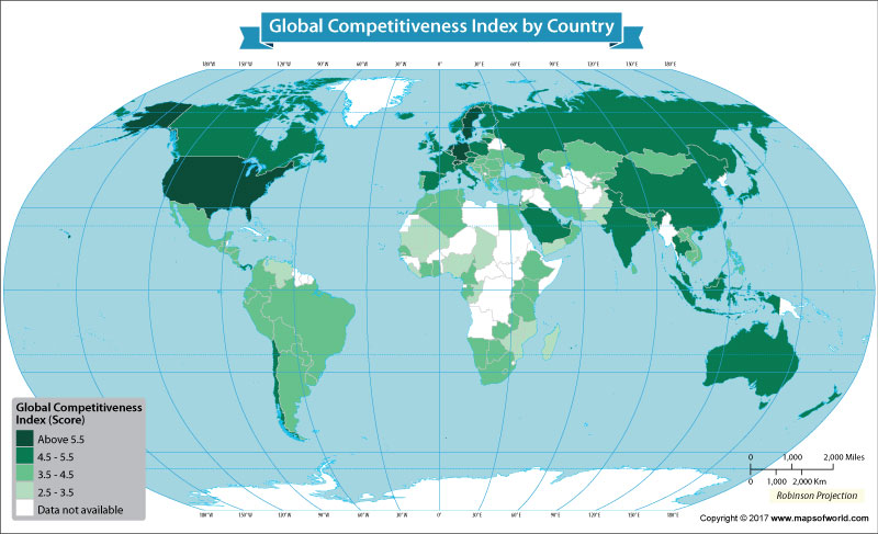 The World Map Depicts the Global Competitiveness Index of Each Nation