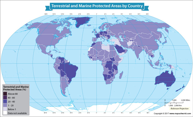 Get to know the terrestrial and marine protected area by country.