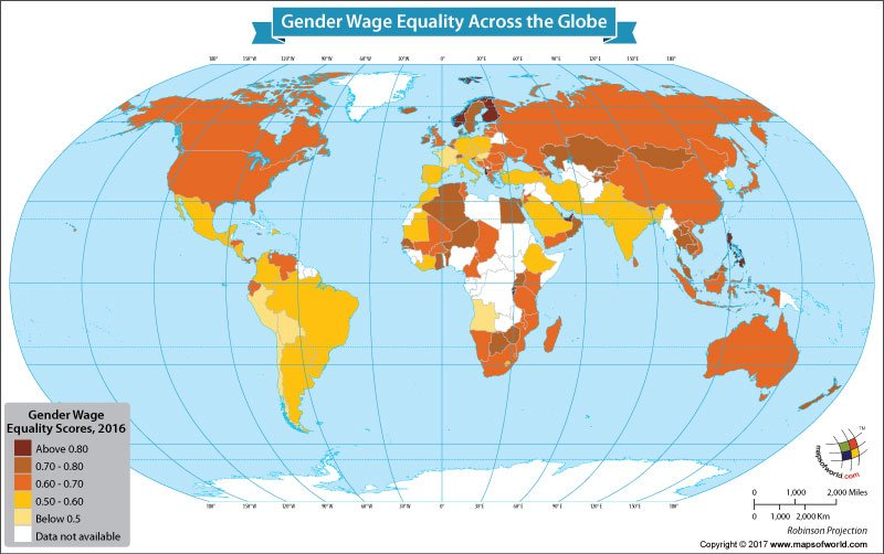 World Map Depicting the Gender Wage Equality