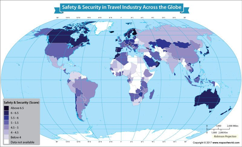 World map showing safety security in travel industry across the world map showing how nations fare on the travel and tourism competitiveness reports safety and security gumiabroncs Choice Image