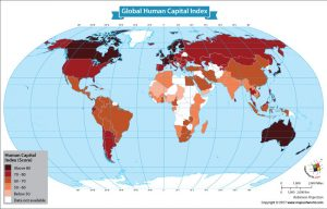 World Map Showing Human Capital Index By Country