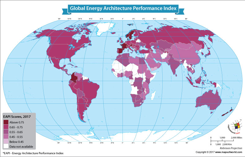 World Map Showeing the Global Energy Architecture Performance Index