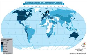 World Map Showing Enabling Trade Index by Country