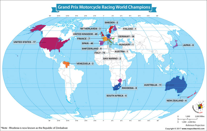World Map Showing the Grand Prix Motorcycle Racing World Champions