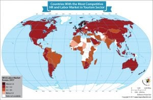 The World Map Depicts the Nations Which Have the Most Competitive HR and Labor Market in Tourism Sector