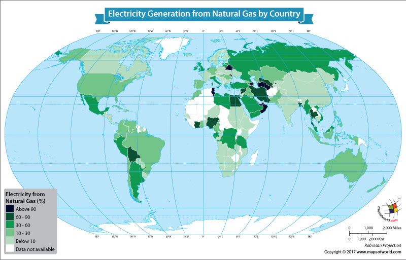 World Map Showing Electricity Generation From Natural Gas by Country