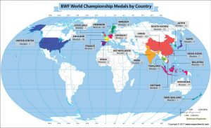 Get to Know the Number of Medals Won by Each Country at the BWF World Championships