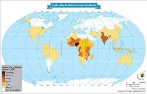 World Map Showing Deaths Due to Malaria Around the World