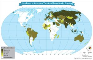 World Map Showing Enrollment in Secondary Vocational Education